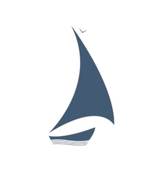 Sailing logo ship on the waves vector