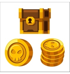 Cartoon golden coins closed wooden chest vector
