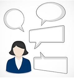 Business woman and speech bubbles vector image