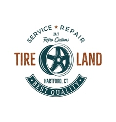 Vintage label design tire service emblem in retro vector