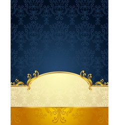 Seamless pattern in victorian style gold dark blue vector