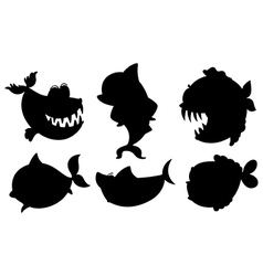 A school of black colored fishes vector