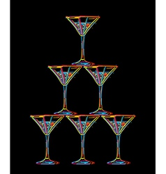champagne glasses tower vector image