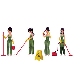 cleaning service girl charwoman with vacuum vector image