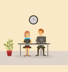 Color background with person in yor job sitting in vector