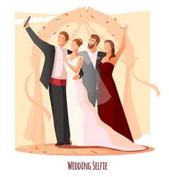 Wedding festive selfie composition vector