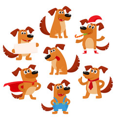 Cute brown funny dog puppy character vector