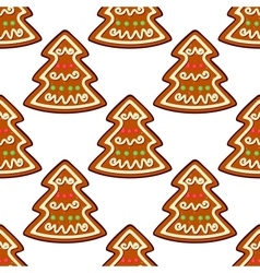 Gingerbread new year tree seamless pattern vector image