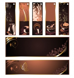 Set of coffee tea banners vector