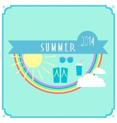 Blue summer card with sun rainbow clouds vector