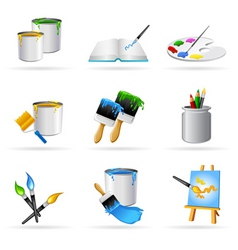 painting icons vector image