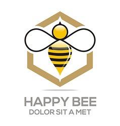 Logo beehive sweet natural and honeycomb design vector