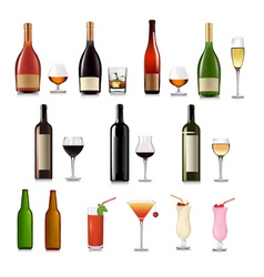 super group of drinks set vector image