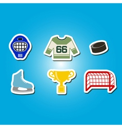 Color set with hockey icons vector