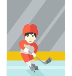 Hockey player at rink vector
