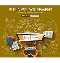 Business agreement concept wih doodle design style vector