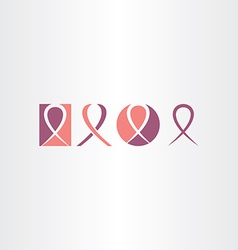 Cancer ribbon icon set logo vector