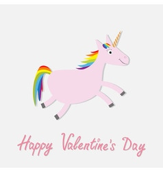 Happy valentines day love card cute unicorn vector