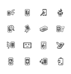 Simple smart phone repair icons vector