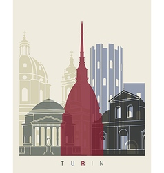 Turin skyline poster vector image
