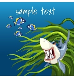 Angry shark among algae and a set of small fish vector image