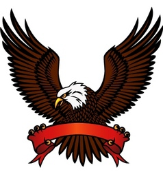 bald eagle and red emblem vector image vector image
