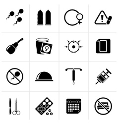 Black Pregnancy and contraception Icons vector image