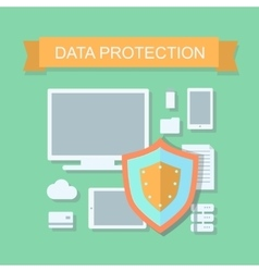 Business data protection and cloud network vector image