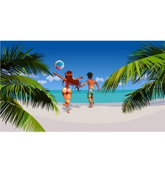 Cartoon man and woman happily running on tropical vector