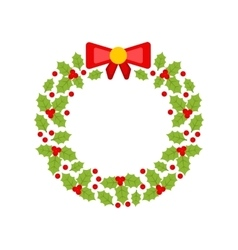 Christmas wreath made of holly berries isolated vector