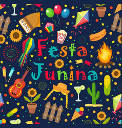 Festa junina seamless pattern brazilian latin vector
