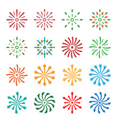 firework icons set vector image vector image