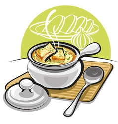 French onion soup with croutons vector