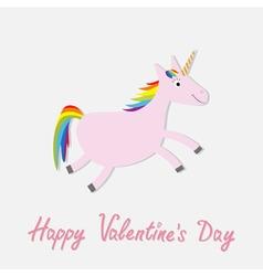 Happy valentines day love card cute unicorn vector