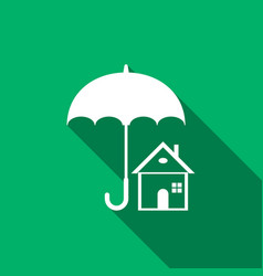 House with umbrella icon isolated with long shadow vector