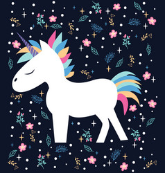 Magic beautiful cartoon the unicorn vector