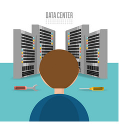 man repair data center information vector image