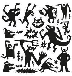 monsters - doodles set vector image