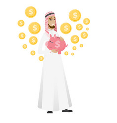 Muslim businessman holding a piggy bank vector