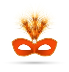 Orange carnival mask with fluffy feathers isolated vector image vector image