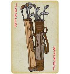 Playing card joker - golf clubs bag freehand vector