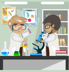 Scientists in medical science laboratory vector