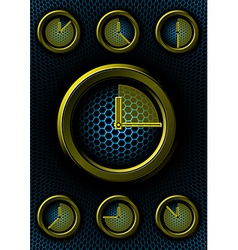 Set of clocks with hex background vector image