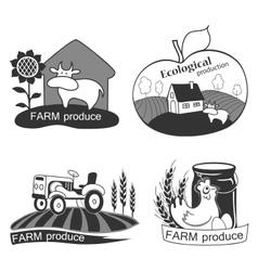 Set of farm fresh emblems badges and design vector image vector image