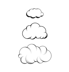 Set of hand drawn engraving clouds vector image