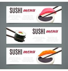 Sushi banners horizontal vector