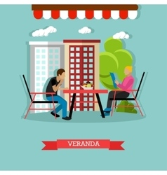 veranda design element with people sitting vector image vector image