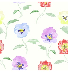 Watercolor flowers viola seamless pattern vector