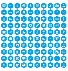 100 mens team icons set blue vector