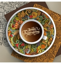Cup of coffee and Thanksgiving doodles vector image